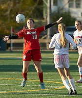 Belmont's Makenzie Donovan takes control of the ball during NHIAA Semi Final with Campbell on Tuesday afternoon at Laconia High School.  (Karen Bobotas/for the Laconia Daily Sun)