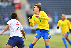 February 27, 2019 - Chester, PA, U.S. - CHESTER, PA - FEBRUARY 27: Brazil Defender Jucinara (3) prepares for a header in the first half during the She Believes Cup game between Brazil and England on February 27, 2019 at Talen Energy Stadium in Chester, PA. (Photo by Kyle Ross/Icon Sportswire) (Credit Image: © Kyle Ross/Icon SMI via ZUMA Press)