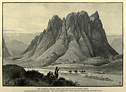 Ras Sufsafeh [Mount Sinai] Wood engraving of from 'Picturesque Palestine, Sinai and Egypt' by Wilson, Charles William, Sir, 1836-1905; Lane-Poole, Stanley, 1854-1931 Volume 4. Published in 1884 by J. S. Virtue and Co, London