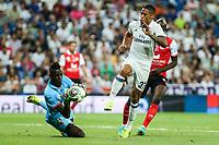 Stade de Reims's Mendy and Real Madrid's Mariano during the XXXVII Bernabeu trophy between Real Madrid and Stade de Reims at the Santiago Bernabeu Stadium. August 15, 2016. (ALTERPHOTOS/Rodrigo Jimenez)