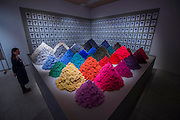Fibre Market by Christien Meindertsma - The Design Museum has moved to Kensington High Street from its former home as an established London landmark on the banks of the river Thames.  The new museum will be devoted to contemporary design and architecture, an international showcase for the many design skills at which Britain excels and a creative centre, promoting innovation and nurturing the next generation of design talent. His Royal Highness toured the museum to view the transformation of a modernist building from the 1960s, which was the former Commonwealth Institute.  17  November 2016, London.