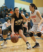 Libby Waddell #23 of The Colony drives the ball against Kristy Kha #21 of Frisco Wakeland at Little Elm High School on Friday, February 8, 2013 in Little Elm, Texas. (Cooper Neill/The Dallas Morning News)