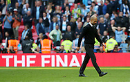 Manchester City's Pep Guardiola walks off dejected at the final whistle during the FA Cup Semi Final match at Wembley Stadium, London. Picture date: April 23rd, 2017. Pic credit should read: David Klein/Sportimage