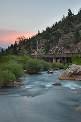 """""""Truckee River Sunset 1"""" - Photograph taken at sunset of the Truckee River near the California and Nevada boarder. The Truckee River flume is visible."""