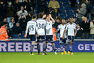 Chris Brunt celebrates his goal during the The FA Cup match between West Bromwich Albion and Gateshead at The Hawthorns, West Bromwich, England on 3 January 2015. Photo by Alan Franklin.