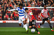 Brentford Forward Said Benrahma (21) and Queens Park Rangers Forward Eberechi Eze (10) in action during the EFL Sky Bet Championship match between Brentford and Queens Park Rangers at Griffin Park, London, England on 2 March 2019.