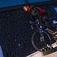 021613  Adron Gardner/Independent<br /> <br /> John Adamson, of Utah, warms up on his bike trainer before the start of the 2013 Mount Taylor Quadrathlon in Grants Saturday.