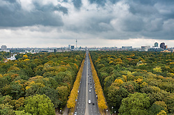 View over Tiergarten towards Brandenburg Gate in Autumn in Berlin Germany