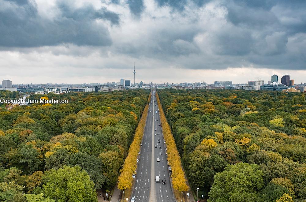 View over Tiergarten towards Brandenburg Gate in Autumn in Berlin Germany