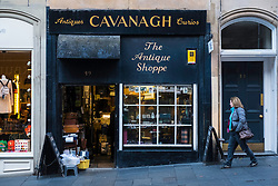 Cavanagh Antiques shop on Cockburn Street in Edinburgh Old Town, Scotland, United Kingdom