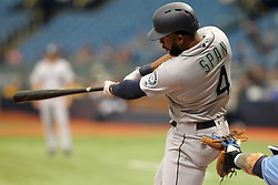 June 10, 2018 - St. Petersburg, FL, U.S. - ST. PETERSBURG, FL - JUN 10: Denard Span (4) of the Mariners at bat during the MLB regular season game between the Seattle Mariners and the Tampa Bay Rays on June 10, 2018, at Tropicana Field in St. Petersburg, FL. (Photo by Cliff Welch/Icon Sportswire) (Credit Image: © Cliff Welch/Icon SMI via ZUMA Press)
