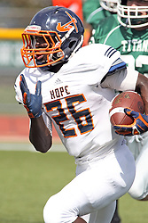 28 September 2013:  Shawn Jackson during an NCAA division 3 football game between the Hope College Flying Dutchmen and the Illinois Wesleyan Titans in Tucci Stadium on Wilder Field, Bloomington IL