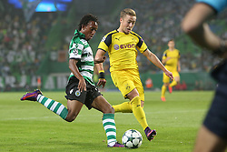 October 18, 2016 - Lisbon, Portugal - Sporting's forward Gelson Martins (L) vies with Dortmund's forward Mario Gotze during the UEFA Champions League Group F football match Sporting CP vs Borussia Dortmund at the Alvalade stadium in Lisbon, Portugal on October 18, 2016. Photo: Pedro Fiuza (Credit Image: © Pedro Fiuza via ZUMA Wire)