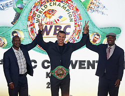 October 1, 2018 - Kiev, Ukraine - Former Boxing Champion EVANDER HOLYFIELD (L),Ukrainian boxer VLADIMIR KLITSCHKO (C) and former Boxing Champion LENNOX LEWIS (R) react during awarding of VLADIMIR KLITSCHKO with the belt of the honorary world champion by the WBC version at the opening of the 56th World Boxing Convention in Kiev, Ukraine, on 1 October 2018.The WBC 56th congress in which take part boxing legends Evander Holyfield,Lennox Lewis, Eric Morales and about 700 participants from 160 countries runs in Kiev from from September 30 to October 5. (Credit Image: © Serg Glovny/ZUMA Wire)
