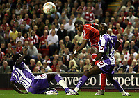 Photo: Paul Thomas.<br /> Liverpool v Toulouse. UEFA Champions League Qualifying. 28/08/2007.<br /> <br /> Ryan Babel of Liverpool shoots for goal.