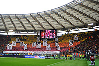 Coreografia tifosi Roma con i ritrattio dei capitani della squadra. AS Roma supporters show banner with portraits of team history captains <br /> Roma 11-01-2015 Stadio Olimpico, Football Calcio Serie A AS Roma - Lazio . Foto Andrea Staccioli / Insidefoto