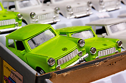 Detail of box of toy Trabant cars for sale at a market in Berlin Germany