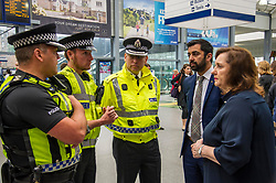 Pictured: Inspector Dougie Brownlee, British Transport Police, Sergeant Scott Kennedy, Superintendent Richord Horsn, Police Scotland, Humza Yousaf and Lesley MacInnies Edinburgh City Council.<br /> Humza Yousaf, MSP, minister for Transport and the Islands joined the Edinburgh Community Safety Partnership as they officially launched Edinburgh's Transport Charter aimed at eradicating hate crime on all forms of transport in the city. Each of the organisations involved with the partnership will outline their approach to responding to incidents.  The launch will be followed by two days of action where representatives will be in transport hubs, promoting an understanding of hate crime, raising awareness of the charter and how to report unacceptable behaviours. Charter Representatives: Transport and Environment Convener, Lesley Macinnes, Alex Hynes from the Scotrail Alliance, Michael Powell from Edinburgh Trams, Jason Hackett from First Buses, Superintendent Richard Horan from Police Scotland, Chief Inspector Sue Maxwell from British Transport Police and Transport Scotland. Allister McKillop Vice Chair of Equality Transport Advisory Group (ETAG) and representatives from the Access Panel, Hollaback, SCOREScotland, NKS, Edinburgh Women's Interfaith Group and SESTran along with students from Currie High School<br /> <br /> Ger Harley | EEm 27 June  2017