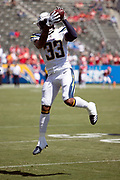 Los Angeles Chargers rookie defensive back Derwin James (33) leaps in the air and catches a pass during pregame warmups before the 2018 regular season week 1 NFL football game against the Kansas City Chiefs on Sunday, Sept. 9, 2018 in Carson, Calif. The Chiefs won the game 38-28. (©Paul Anthony Spinelli)