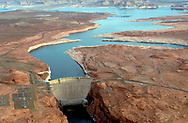 The Colorado River flows into Lake Powell behind the Glen Canyon Dam at Page Arizona.