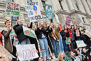 Inspired by Swedish teenager Greta Thunberg and organised by Youth Strike 4 Climate, British eco-aware school and college-age pupils protest about Climate Change inaction in Whitehall during their walkout from classes, on 15th March 2019, in Westminster, London England.