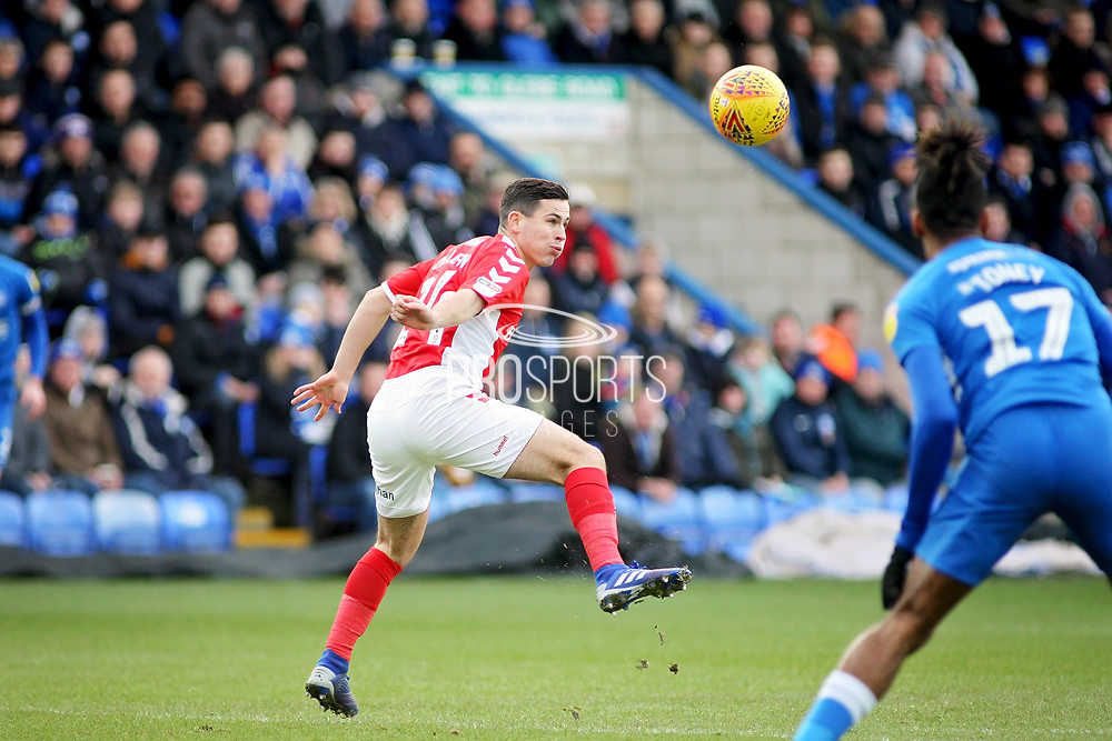 Charlton forward Igor Vetokele (14) just makes this header during the EFL Sky Bet League 1 match between Peterborough United and Charlton Athletic at London Road, Peterborough, England on 26 January 2019.