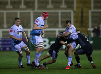 Rugby Union - 2020 / 2021 ERRC Challenge Cup - Newcastle Falcons vs Cardiff Blues - Kingston Park<br /> <br /> Garyn Smith of Cardiff Blues is tackled by Jamie Blamire of Newcastle Falcons<br /> <br /> COLORSPORT/BRUCE WHITE