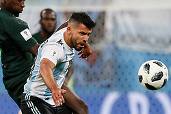June 26, 2018 - Saint Petersburg, Russia - Sergio Aguero (C) of Argentina national team and Onyinye Ndidi of Nigeria national team vie for the ball during the 2018 FIFA World Cup Russia group D match between Nigeria and Argentina on June 26, 2018 at Saint Petersburg Stadium in Saint Petersburg, Russia. (Credit Image: © Mike Kireev/NurPhoto via ZUMA Press)