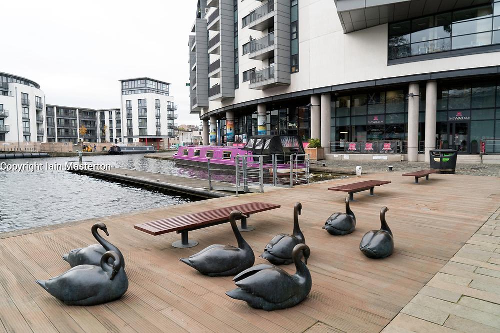 Sculptures at Fountainbridge canal-side property development in Edinburgh, Scotland, United Kingdom.