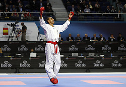 November 10, 2018 - Madrid, Madrid, Spain - German karateka Jonathan Horne seen celebrating after competing for the Gold Medal with Iranian karateka Sajad Ganjzadeh during the Kumite male +84kg final competition of the 24th Karate World Championships at the WiZink center in Madrid (Credit Image: © Manu Reino/SOPA Images via ZUMA Wire)