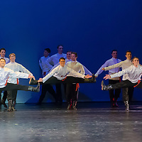 Members of the Moiseyev Dance Company perform during their tour in Budapest, Hungary on December 08, 2014. ATTILA VOLGYI