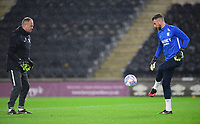 Preston North End's goalkeeping coach Jonathan Gould, left, and Preston North End's Declan Rudd during the pre-match warm-up <br /> <br /> Photographer Chris Vaughan/CameraSport<br /> <br /> The EFL Sky Bet Championship - Hull City v Preston North End - Wednesday 27th November 2019 - KCOM Stadium - Hull<br /> <br /> World Copyright © 2019 CameraSport. All rights reserved. 43 Linden Ave. Countesthorpe. Leicester. England. LE8 5PG - Tel: +44 (0) 116 277 4147 - admin@camerasport.com - www.camerasport.com