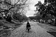 Un joven camina por las callejuelas de tierra en el campamento de migrantes en la ciudad de Matamoros, Tamaulipas. Fotografo César Rodríguez.