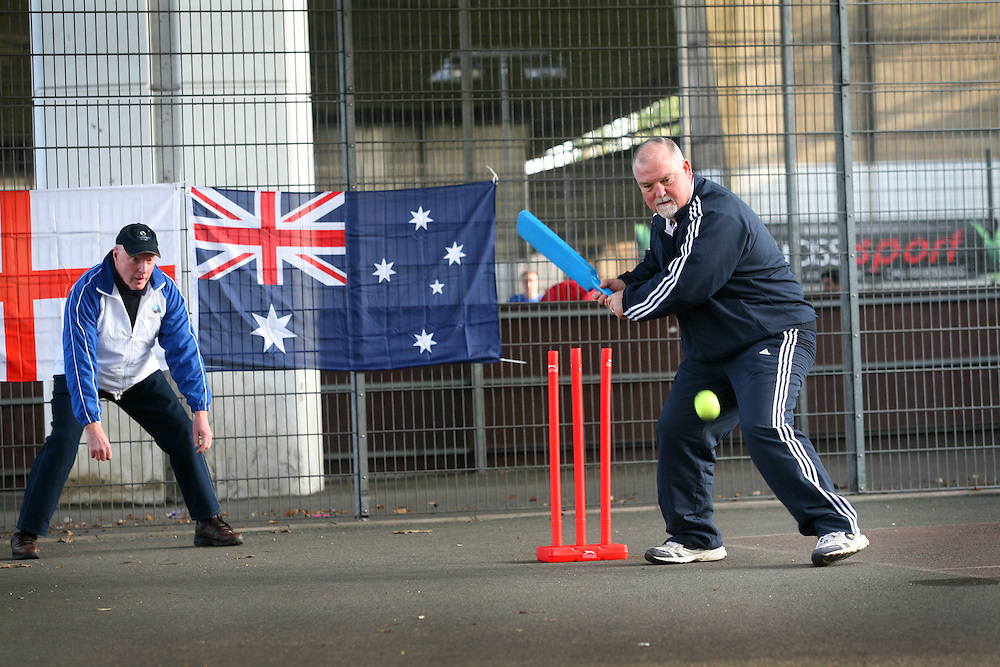 Ex-England cricket skipper Mike Gatting & actor Ray Meagher promote 'Street Chance', London