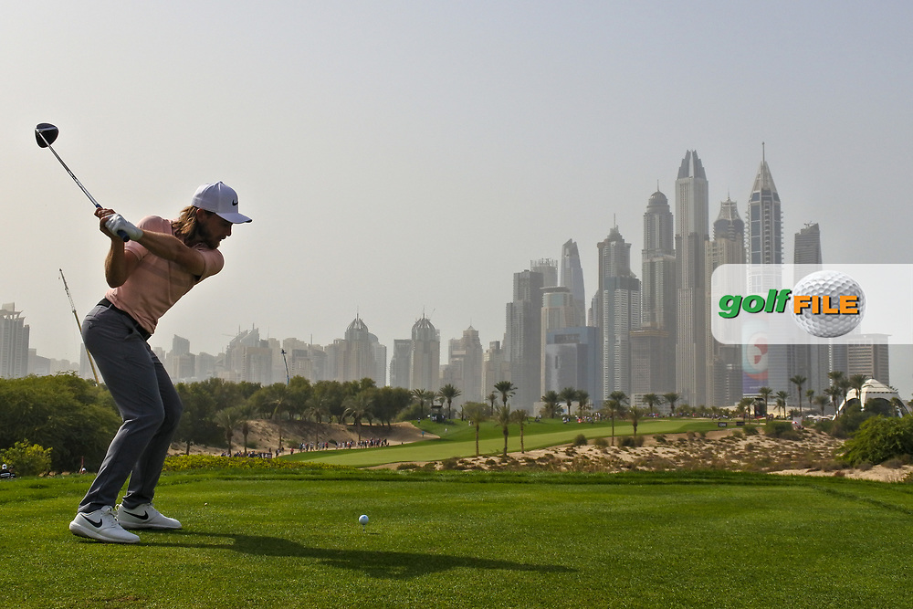 Tommy Fleetwood (ENG) on the 8th during Round 2 of the Omega Dubai Desert Classic, Emirates Golf Club, Dubai,  United Arab Emirates. 25/01/2019<br /> Picture: Golffile | Thos Caffrey<br /> <br /> <br /> All photo usage must carry mandatory copyright credit (© Golffile | Thos Caffrey)