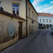 Wall with constitution of Uzupis in artistic neighborhood of Vilnius, Lithuania