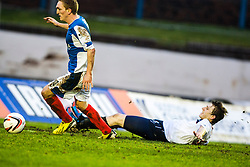 Falkirk's Blair Alston misses a first half chance.<br /> Cowdenbeath 0 v 2 Falkirk, Scottish Championship game today at Central Park, the home ground of Cowdenbeath Football Club.<br /> © Michael Schofield.