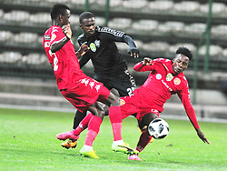 Cape Town 180214  Stellenbosch FC defender Anzio Georgia  challenged by Thabo Motlafi and Chris Kutjiukua   of Highlands PARK at Athlone Stadium in the nedbank Challenge . Picture:Phando Jikelo/African News Agency(ANA)