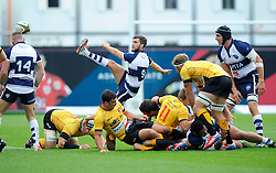 Bristol Scrum-Half Craig Hampson kicks free  - Photo mandatory by-line: Joe Meredith/JMP - Mobile: 07966 386802 - 21/09/2014 - SPORT - FOOTBALL - Bristol - Ashton Gate - Bristol Rugby v Cornish Pirates - Greene King IPA Championship