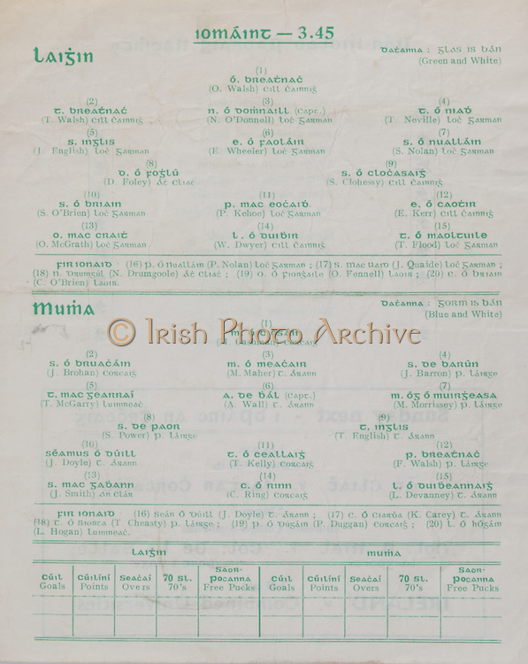 Interprovincial Railway Cup Football Cup Final,  17.03.1961, 03.17.1961, 17th March 1961, referee S O Mairtin , Leinster 4-05, Munster 0-04, .Interprovincial Railway Cup Hurling Cup Final,  17.03.1961, 03.17.1961, 17th March 1961, referee C O Dublainn, Leinster 3-09, Munster 4-12, Hurling Team Leinster, O Walsh, T Walsh,  N O'Donnell, T Neville, J English, E Wheeler, S Nolan, D Foley, S Clohessy, S O'Brien, P Kehoe, E Kerr, O McGrath, W Dwyer, T Flood, Hurling Team Munster, M Cashman, J Brohan, M Maher, J Barron, T McCarry, A Wall, M Morrissey, S Power, T English, J Doyle, T Kelly, F Walsh, J Smith, C Ring, L Devanney, .