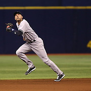 New York Yankees shortstop Derek Jeter (2) is seen on the field during a major league baseball game between the New York Yankees and the Tampa Bay Rays at Tropicana Field on Thursday, Sept. 17, 2014 in St. Petersburg, Florida. The Yankees won the game 3-2 and this was Jeter's last game against Tampa Bay. (AP Photo/Alex Menendez)
