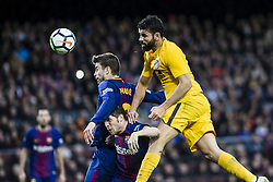 March 4, 2018 - Barcelona, Catalonia, Spain - 18 Costa from Spanish-Brazil of Atletico de Madrid defended by 03 Gerard Pique from Spain of FC Barcelona and 20 Sergi Roberto from Spain of FC Barcelona during La Liga match between FC Barcelona v Atletico de Madrid at Camp Nou Stadium in Barcelona on 04 of March, 2018. (Credit Image: © Xavier Bonilla/NurPhoto via ZUMA Press)