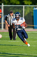 KELOWNA, BC - AUGUST 3:  Kuda Murasiranwa RB #20 of Kamloops Broncos runs with the ball during the first quarter against the Okanagan Sun at the Apple Bowl on August 3, 2019 in Kelowna, Canada. (Photo by Marissa Baecker/Shoot the Breeze)