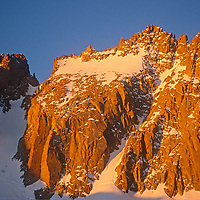 14,249′ North Palisade towers above the Palisade Glacier on the crest of California's Sierra Nevada in John Muir Wilderness.