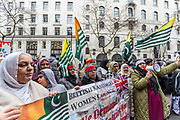 Kashmiri women chant anti-Indian government slogans alongside hundreds of British Kashmiri protestors assembled outside the Indian High Commission on Sunday, 26 January 2020 to protest against Indian occupation of Kashmir and the lockdown of the occupied territory following the revocation of Article 370.<br /> The north-eastern region, on the border with Pakistan, is the only Muslim majority state in Hindu-dominated India. But in August 2019, the Indian government revoked Kashmir's special status – this had previously allowed it to have its own constitution and internal government.