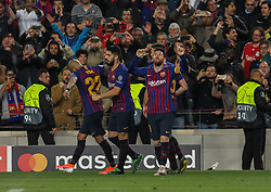 May 1, 2019 - Barcelona, Barcelona, Spain - Players of Barcelona celebrating a goal during UEFA Champions League football match, between Barcelona and Liverpool, May 01th, in Camp Nou stadium in Barcelona, Spain. (Credit Image: © AFP7 via ZUMA Wire)