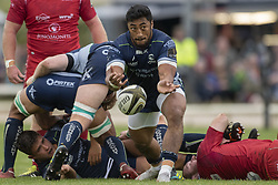 September 22, 2018 - Galway, Ireland - Bundee Aki of Scarlets in action during the Guinness PRO14 match between Connacht Rugby and Scarlets at the Sportsground in Galway, Ireland on September 22, 2018  (Credit Image: © Andrew Surma/NurPhoto/ZUMA Press)