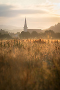 Fields by town of Bombogen at sunrise in Germany