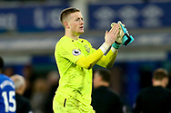 Everton Goalkeeper Jordan Pickford  looking dejected after the game. Premier league match, Everton v Manchester Utd at Goodison Park in Liverpool, Merseyside on New Years Day, Monday 1st January 2018.<br /> pic by Chris Stading, Andrew Orchard sports photography.