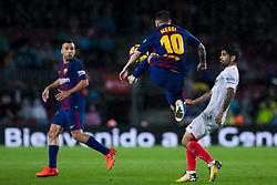Nov 4, 2017 - Barcelona, Spain - La Liga football, Barcelona v Sevilla; Leo Messi of FC Barcelona jumps to refuse the ball (Credit Image: © Eric Alonso via ZUMA Wire)